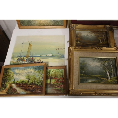 40 - A COLLECTION OF ASSORTED OIL PAINTINGS AND PRINTS ETC. TO INCLUDE COUNTRY LANDSCAPES SIGNED G. STOKE...
