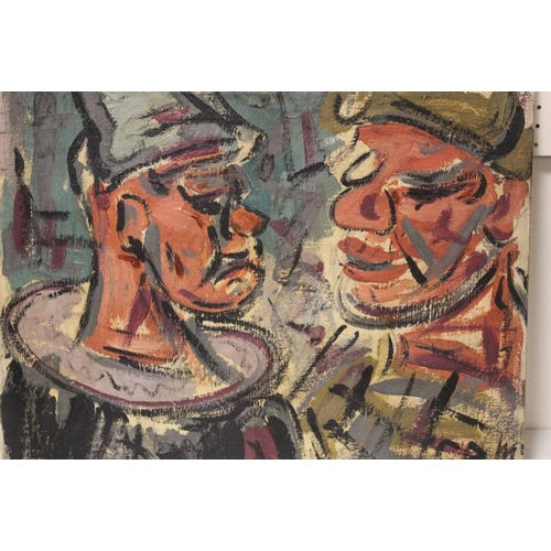 42 - G. R. M. (XX).  An impressionist head and shoulder study of two clowns. Signed with initials lower r...