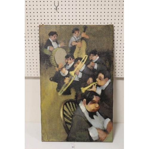 44 - LEONARD CREO (Bb. 1923). American school, an impressionist study of a jazz band. Signed lower left, ...