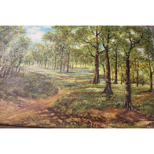 47 - AN UNFRAMED OIL ON BOARD OF A WOODLAND SCENE SIGNED P STOKES 94 CM BY 61.5 CM TOGETHER WITH A FRAMED...