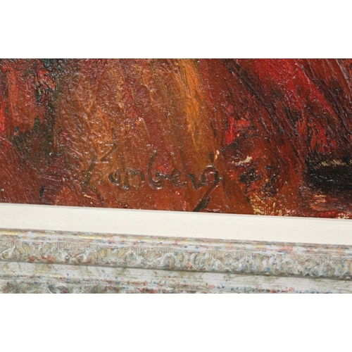 48 - (XX).  An impressionist stormy rocky coastal scene. Indistinctly signed lower left, oil on canvas, f...