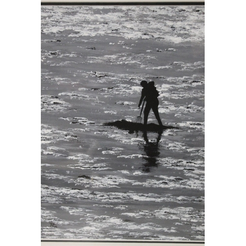 52 - PETER GANT (XX). Cornish school, a shore scene with figure 'Bait Digger' see verso. Signed with mono...