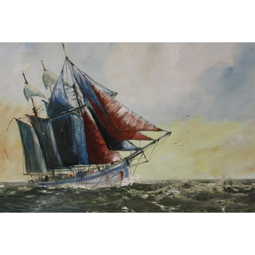 54 - DON BLIZZARD (XX). British school, vessel 'Elinor' in a heavy sell, signed lower right, dated 1957 v...