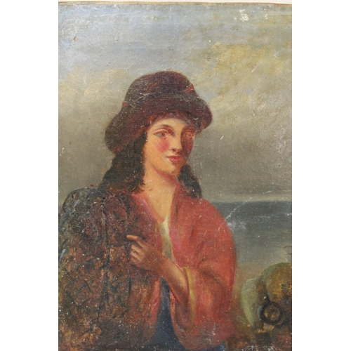 57 - AN ANTIQUE UNFRAMED OIL ON CANVAS PORTRAIT STUDY OF A LADY 20.5 CM BY 26 CM