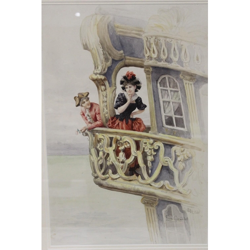 59 - LEON GIRARDET (1857-1895). French school, young lovers on a balcony of a rear cabin of a galleon, si...