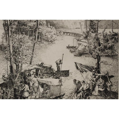 6 - FRANK J. ARCHER (1912-1995). A continental wooded coastal scene with figures and boats, signed and d...