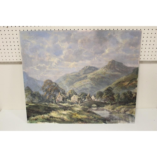 60 - R.G. TROW. Modern British school. mountainous landscape with village, signed and dated 1924 lower ri...