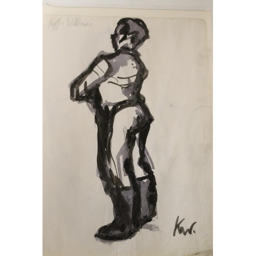 7 - CIRCLE OF JOHN KYFFIN WILLIAMS (1918-2006). A figure study. Bears initials lower right and bears sig...