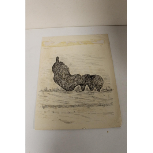 8 - AFTER HENRY MOORE. A study of a large modernist sculpture in a field, bears signature upper left and...