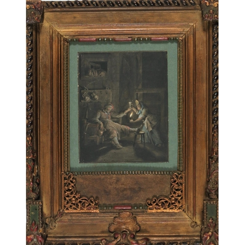 1 - Pieter Barbiers Azn (Dutch 1717-1780) Tavern scene Watercolour on paper Signed lower left  16.5 cm x...