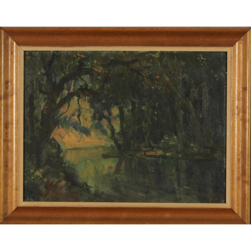 39 - Hal WICHERS (1893-1968) Jungle river Oil on board Signed and dated lower right Hal Wichers 195?  30 ...