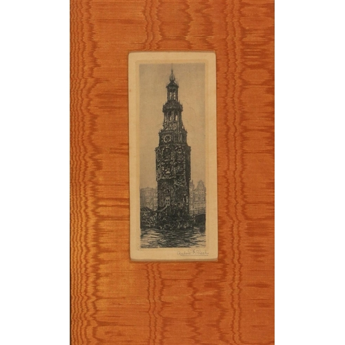 43 - Anton PIECK (Dutch 1895-1987) View of the Montelbaanstoren Amsterdam Etching on paper Signed lower r...