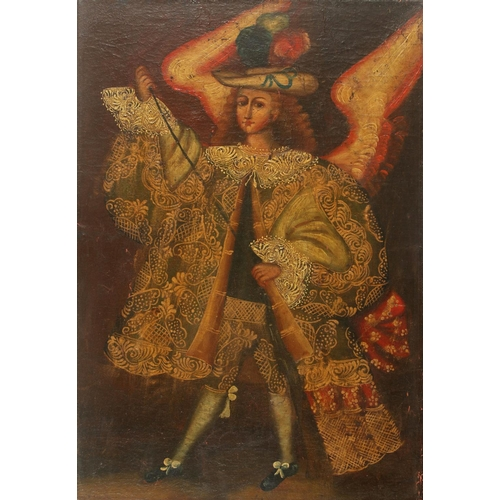 44 - Cuzco School, Peru, Late 17th, early 18th century With an Ángel arcabucero Unsigned Oil on canvas  5...