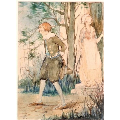 51 - Unknown Artist, 19th century  Depicting a man and a women in a forest Watercolour on paper  Signed, ...