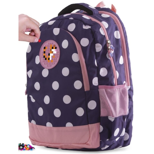 13 - Pixie Crew: Small Navy Backpack Bag with Pink Polka Dots & Patch. RRP £29.99...