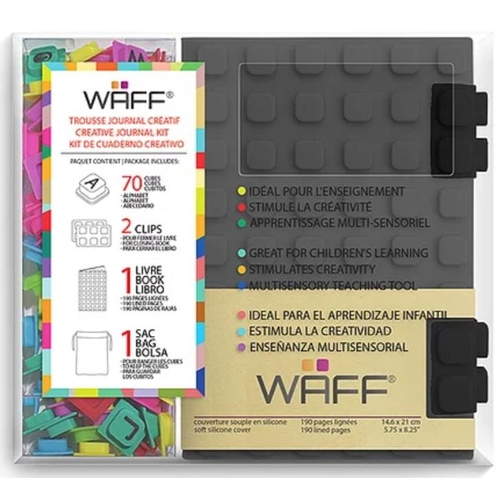 33 - Waff Soft Gray Silicone Journal, with 70 Alphabet Cub. RRP £24.16...