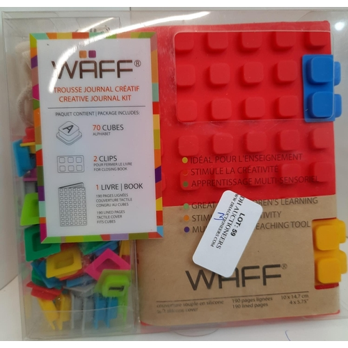 59 - Waff: Soft Blue Silicone Journal, with 70 Alphabet Cub. RRP £24.16...