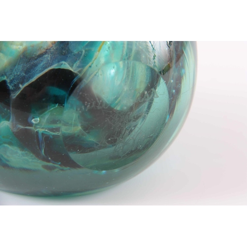 5 - A MDINA GLASS LOLLIPOP VASE circa 1970s with faceted sides, signed, 18cm high 9.5cm wide....