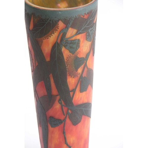 12 - A 20TH CENTURY TAPERING GLASS VASE SIGNED BY DAUM NANCY decorated with leafwork and flowerheads, on ...