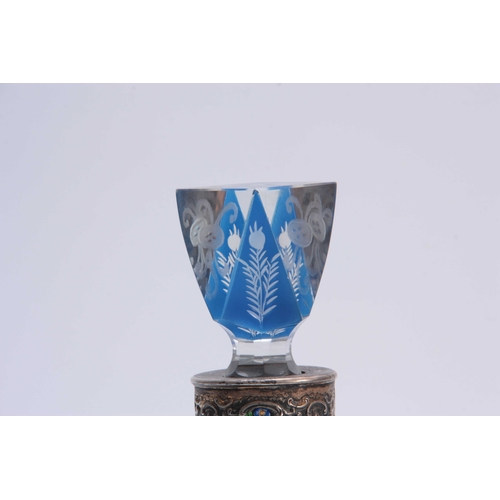 2 - A STYLISH ART NOUVEAU BOHEMIAN SILVER MOUNTED BLUE FLASHED CLEAR DECANTER AND  STOPPER the lozenge s...
