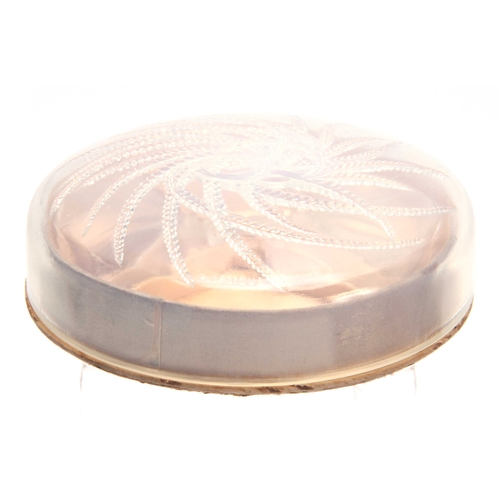 20 - A RENE LALIQUE HOUBIGANT CIRCULAR PERFUME BOX FITTED TWO PERFUME BOTTLES the circular opalescent cov...