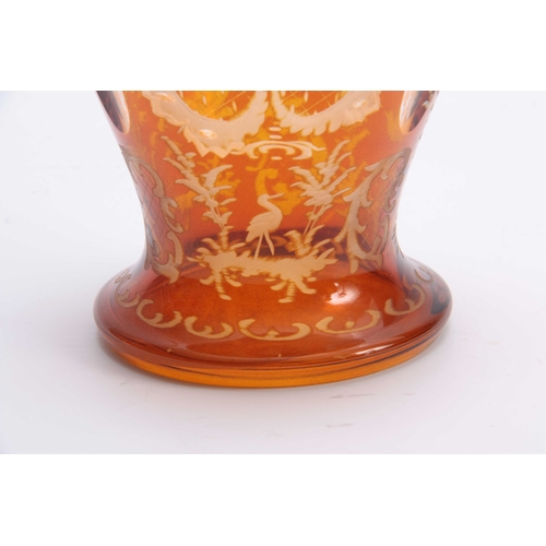 3 - A LATE 19THCENTURY BOHEMIAN SILVER MOUNTED AMBER DECANTER AND STOPPER the clear oval panelled balust...