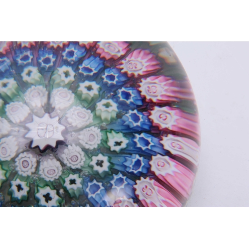 6 - A 19TH CENTURY STOURBRIDGE MILLEFIORI GLASS PAPERWEIGHT filled with bands of  pink, blue, green and ...