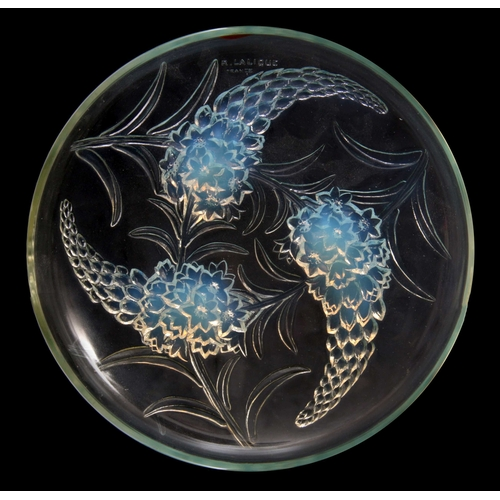 23 - R LALIQUE FRANCE  AN EARLY 20TH CENTURY RELIEF MOULDED OPALESCENT SHALLOW BOWL 'VERONIQUE' with flow...