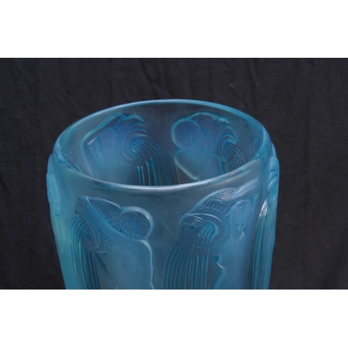 28 - R.LALIQUE, FRANCE A 20TH CENTURY OPALESCENT AND BLUE STAINED DANAIDES VASE decorated with nude water...