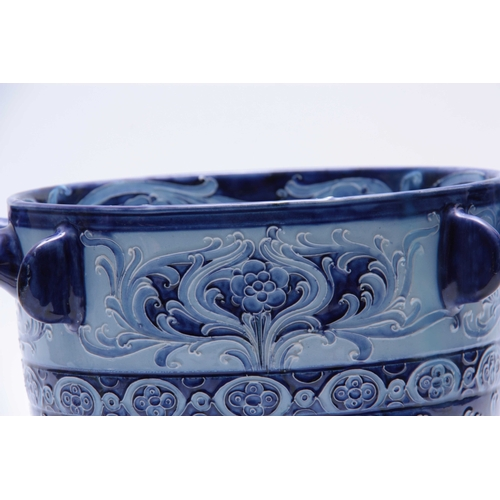 36 - AN IMPRESSIVE JAS. MACINTYRE FLORIAN WARE WILLIAM MOORCROFT LARGE TWO-HANDLED JARDINIERE of footed t...