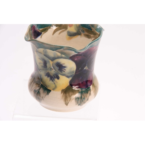 37 - A WILLIAM MOORCROFT BURSLEM SMALL JARDINIERE of bulbous form with flared body and square-lipped rim,...
