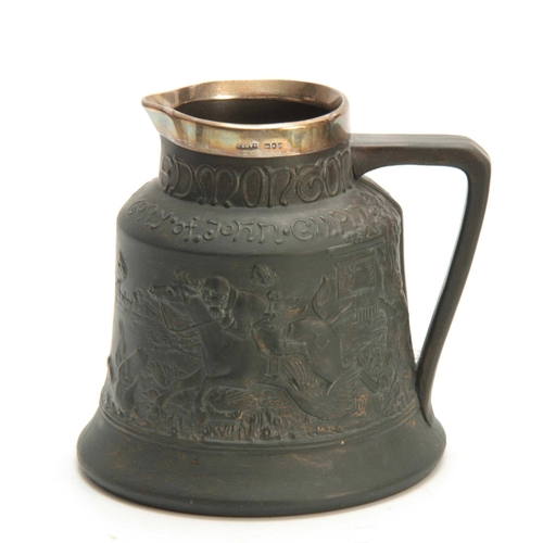 56 - A LATE 19TH CENTURY MACINTYRE BURSLEM BELL-SHAPED SHOULDERED JUG WITH SILVER RIM the dark olive gree...