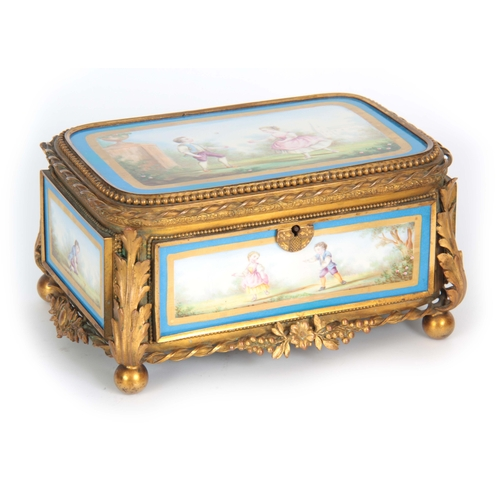 118 - A 19TH CENTURY FRENCH SEVRES STYLE PORCELAIN PANELLED AND GILT METAL MOUNTED JEWELLERY CASKET with a...