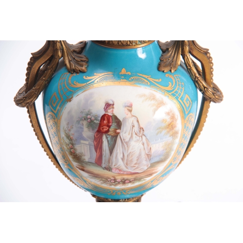 119 - A PAIR OF 19TH CENTURY FRENCH ORMOLU MOUNTED SEVRES STYLE URN-SHAPED VASES with square raised bases ...