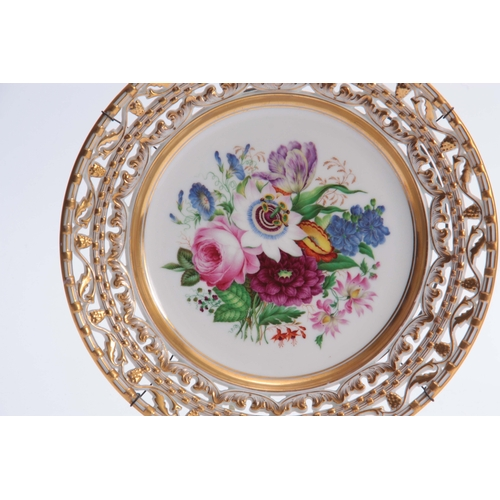 124 - TWO 20TH CENTURY CONTINENTAL PORCELAIN CABINET PLATES with pierced borders and painted centres, depi...