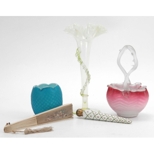 13 - A BLUE QUILTED SATIN GLASS OVOID VASE with scalloped rim 10cms high A PINK QUILTED SATIN GLASS OVAL ...