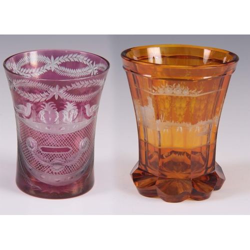 16 - TWO LATE 19th CENTURY BOHEMIAN GLASS BEAKERS 11cm and 10cm...