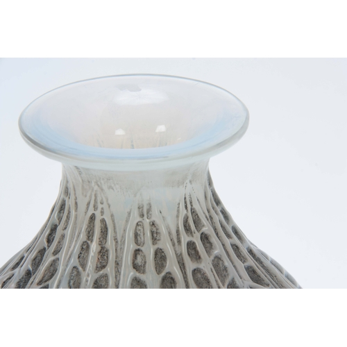 28 - AN R, LALIQUE MALESHERBES CASED OPALESCENT AND GREY STAINED VASE having a bulbous body with leaf wor...