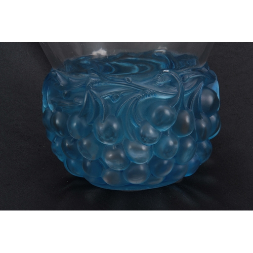 40 - A R LALIQUE 'CERISES' CLEAR AND FROSTED BLUE GLASS VASE with angled rim above a continuous band of c...