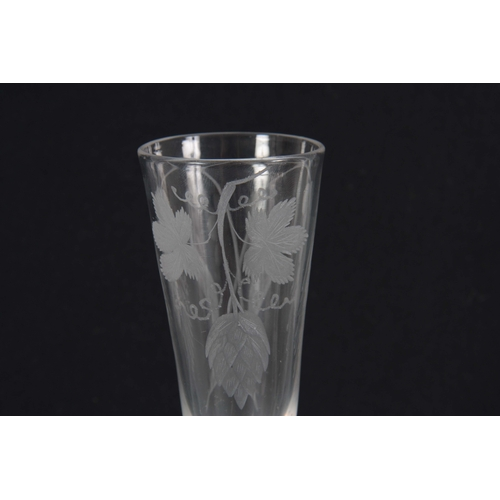 7 - AN 18TH CENTURY TRIPLE OPAQUE AIR TWIST ALE FLUTE / WINE GLASS the bowl engraved with hops and barle...