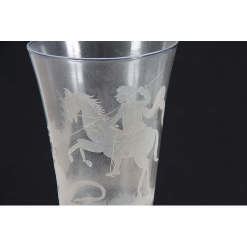 8 - A FINE 20TH CENTURY DRINKING GLASS with fluted bowl engraved with a Gentleman on horseback slaying a...