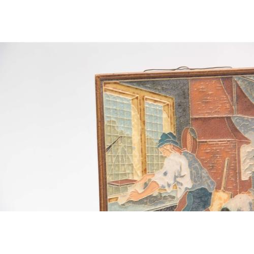 88 - A DELFT RECTANGULAR GLAZED PLAQUE with decorated  interior and figure scene inscribed ZEELANDIA 1990...