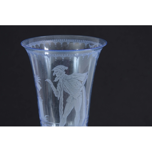 9 - A FINE 20TH CENTURY BLUE STAINED DRINKING GLASS with fluted bowl engraved with a Gentleman set in a ...
