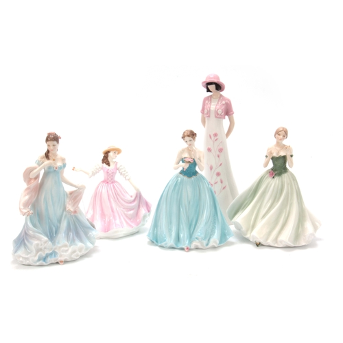 91 - FIVE PORCELAIN FIGURES OF LADIES, one limited edition by Coalport