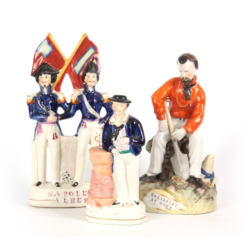 101 - A SELECTION OF THREE 19TH CENTURY STAFFORDSHIRE FIGURES comprising Garibaldi at Home - 24cm high 13c...