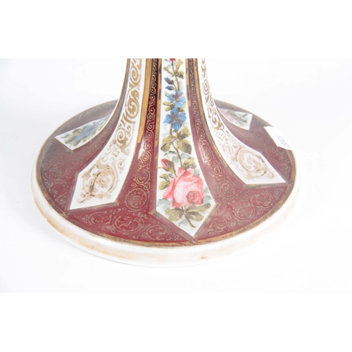 11 - A 19TH CENTURY BOHEMIAN RUBY AND WHITE OVERLAY GLASS ENAMELLED GOBLET decorated with enamelled portr...