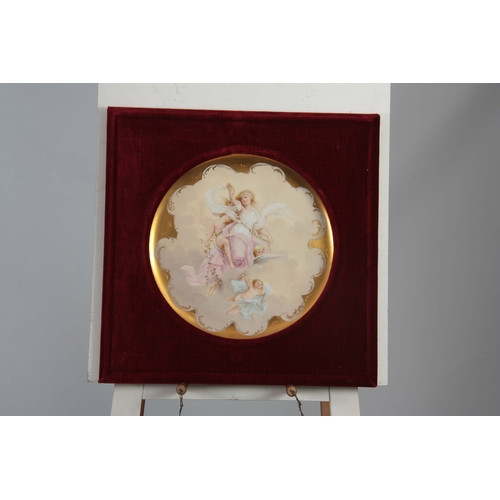 125 - A 19TH CENTURY VIENNA PLAQUE decorated with classical figures of a young lady and cupids - signed to...