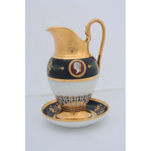 130 - A 19TH CENTURY IMPERIAL RUSSIAN PORCELAIN JUG ON STAND having gilt and royal blue bands with floral ...