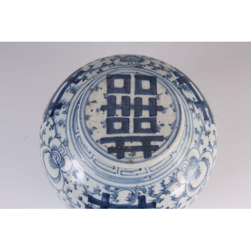 149 - A CHINESE JIAQING PERIOD BLUE AND WHITE PORCELAIN LIDDED GINGER JAR, in leafy design with double hap...