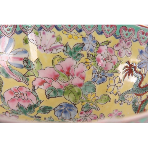 151 - A 20TH CENTURY CHINESE REPUBLIC PERIOD FAMILLE ROSE EGGSHELL BOWL with scalloped rim and decorated w...